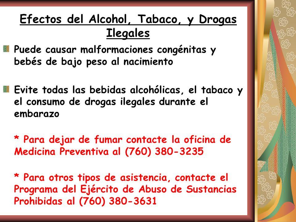 Efectos del Alcohol, Tabaco, y Drogas Ilegales Puede causar malformaciones congénitas y bebés de bajo peso al nacimiento Evite todas las bebidas alcoh