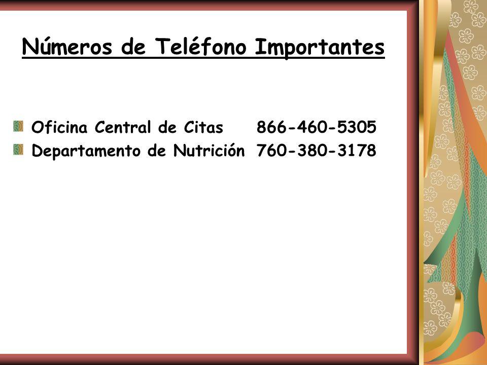 Números de Teléfono Importantes Oficina Central de Citas866-460-5305 Departamento de Nutrición760-380-3178