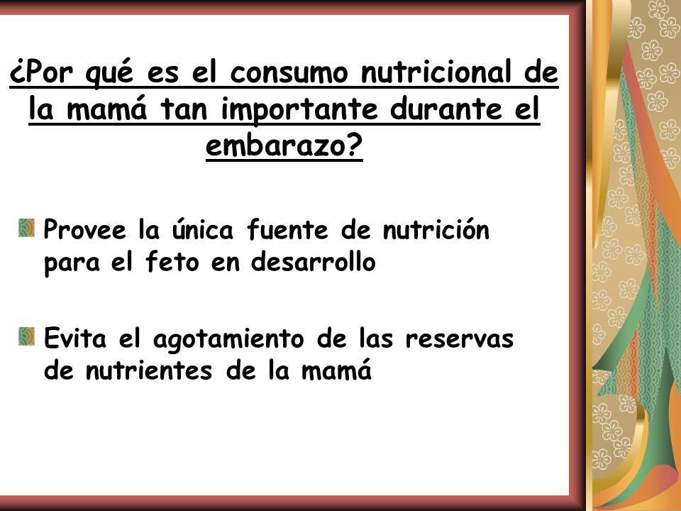 ¿Por qué es el consumo nutricional de la mamá tan importante durante el embarazo? Provee la única fuente de nutrición para el feto en desarrollo Evita