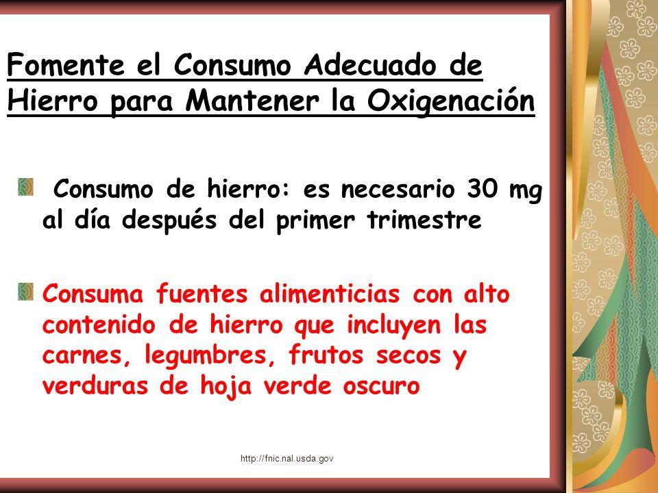 http://fnic.nal.usda.gov Fomente el Consumo Adecuado de Hierro para Mantener la Oxigenación Consumo de hierro: es necesario 30 mg al día después del p