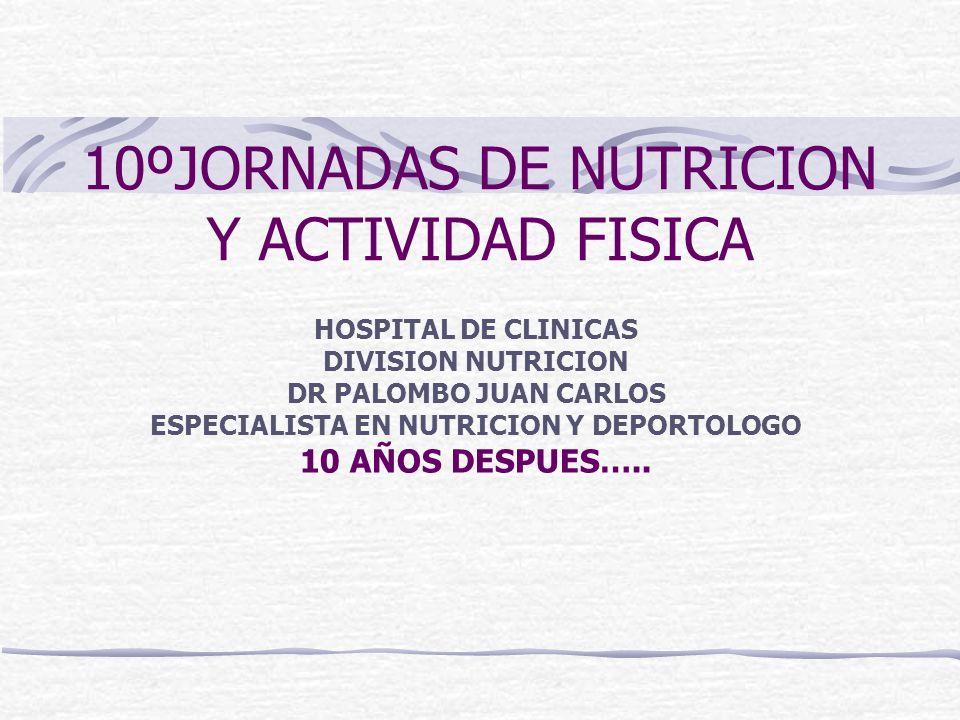 10ºJORNADAS DE NUTRICION Y ACTIVIDAD FISICA HOSPITAL DE CLINICAS DIVISION NUTRICION DR PALOMBO JUAN CARLOS ESPECIALISTA EN NUTRICION Y DEPORTOLOGO 10