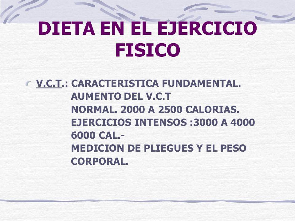 DIETA EN EL EJERCICIO FISICO V.C.T.: CARACTERISTICA FUNDAMENTAL. AUMENTO DEL V.C.T NORMAL. 2000 A 2500 CALORIAS. EJERCICIOS INTENSOS :3000 A 4000 6000