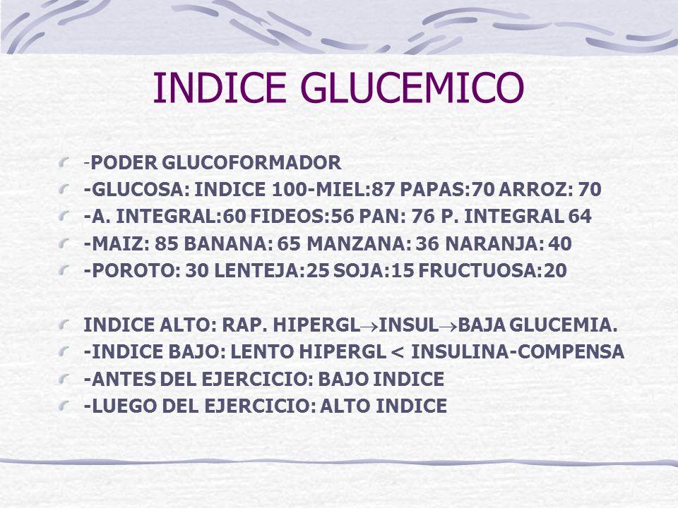 INDICE GLUCEMICO -PODER GLUCOFORMADOR -GLUCOSA: INDICE 100-MIEL:87 PAPAS:70 ARROZ: 70 -A. INTEGRAL:60 FIDEOS:56 PAN: 76 P. INTEGRAL 64 -MAIZ: 85 BANAN