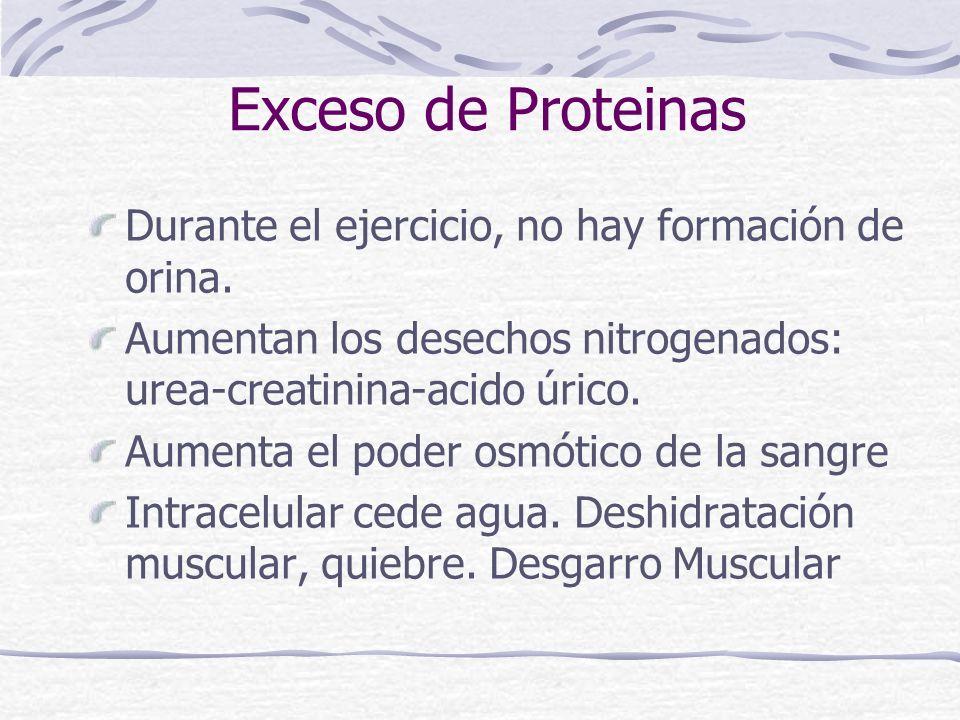 Exceso de Proteinas Durante el ejercicio, no hay formación de orina. Aumentan los desechos nitrogenados: urea-creatinina-acido úrico. Aumenta el poder