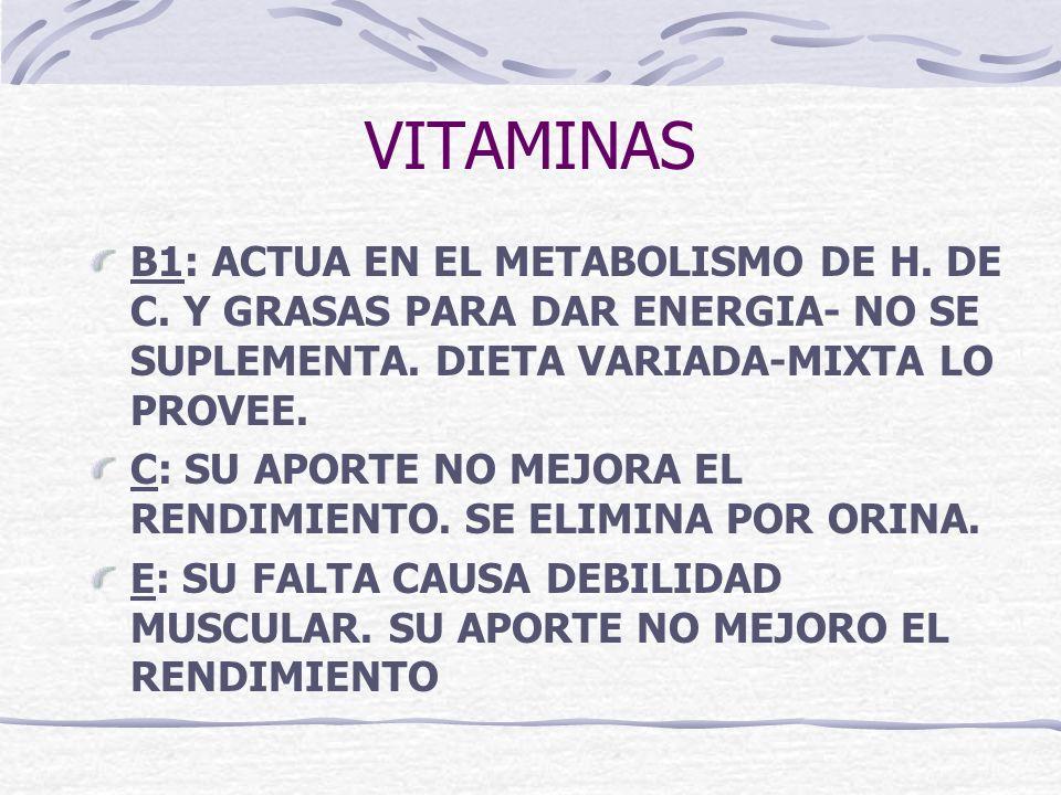 VITAMINAS B1: ACTUA EN EL METABOLISMO DE H. DE C. Y GRASAS PARA DAR ENERGIA- NO SE SUPLEMENTA. DIETA VARIADA-MIXTA LO PROVEE. C: SU APORTE NO MEJORA E