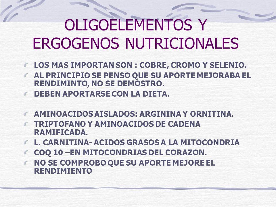 OLIGOELEMENTOS Y ERGOGENOS NUTRICIONALES LOS MAS IMPORTAN SON : COBRE, CROMO Y SELENIO. AL PRINCIPIO SE PENSO QUE SU APORTE MEJORABA EL RENDIMINTO, NO