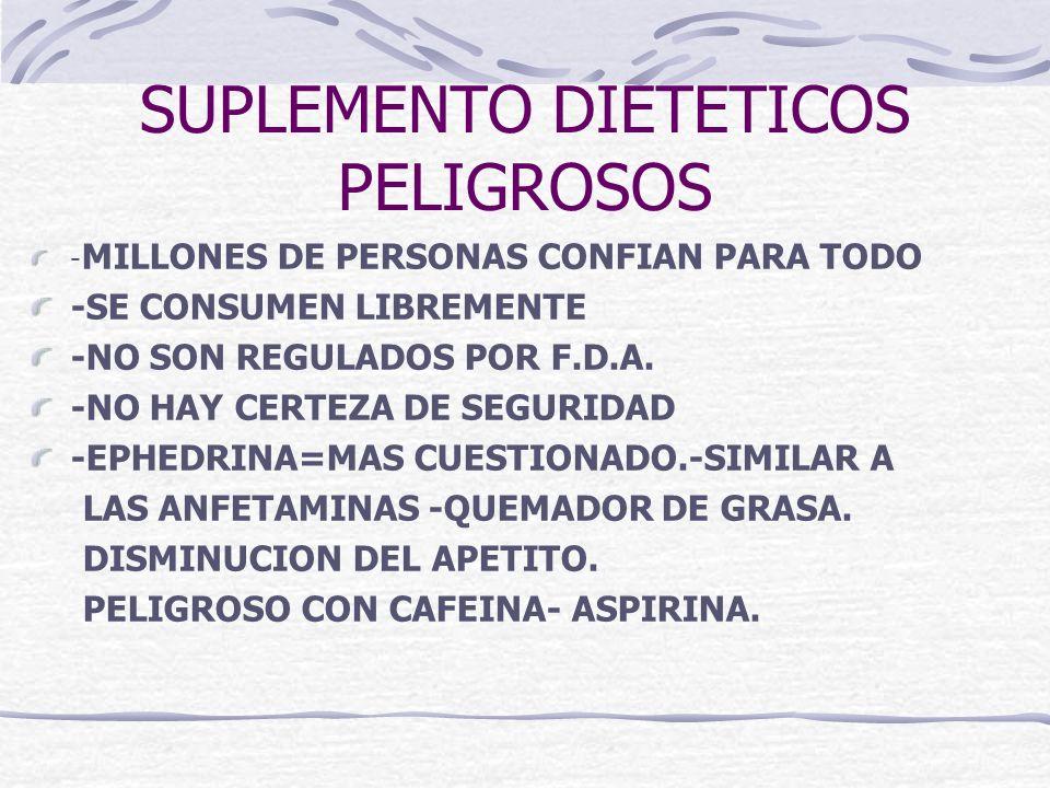SUPLEMENTO DIETETICOS PELIGROSOS - MILLONES DE PERSONAS CONFIAN PARA TODO -SE CONSUMEN LIBREMENTE -NO SON REGULADOS POR F.D.A. -NO HAY CERTEZA DE SEGU