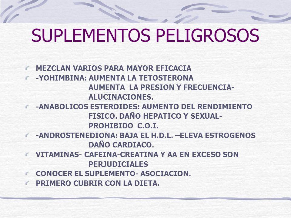 SUPLEMENTOS PELIGROSOS MEZCLAN VARIOS PARA MAYOR EFICACIA -YOHIMBINA: AUMENTA LA TETOSTERONA AUMENTA LA PRESION Y FRECUENCIA- ALUCINACIONES. -ANABOLIC