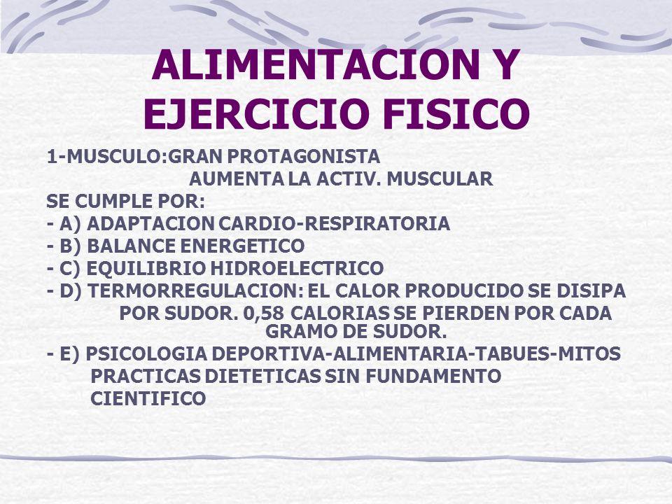 ALIMENTACION Y EJERCICIO FISICO 1-MUSCULO:GRAN PROTAGONISTA AUMENTA LA ACTIV. MUSCULAR SE CUMPLE POR: - A) ADAPTACION CARDIO-RESPIRATORIA - B) BALANCE