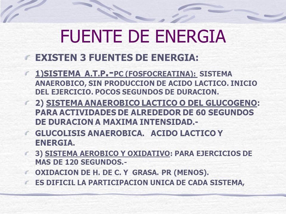 FUENTE DE ENERGIA EXISTEN 3 FUENTES DE ENERGIA: 1)SISTEMA A.T.P.- PC (FOSFOCREATINA): SISTEMA ANAEROBICO, SIN PRODUCCION DE ACIDO LACTICO. INICIO DEL