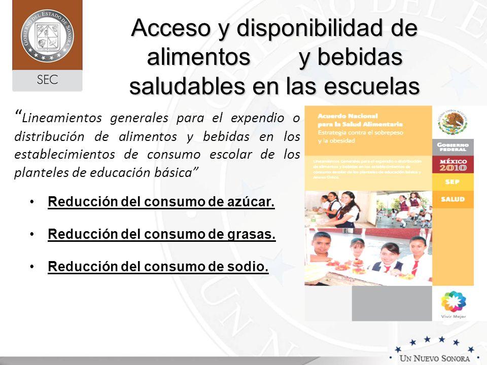 Acceso y disponibilidad de alimentos y bebidas saludables en las escuelas Lineamientos generales para el expendio o distribución de alimentos y bebida