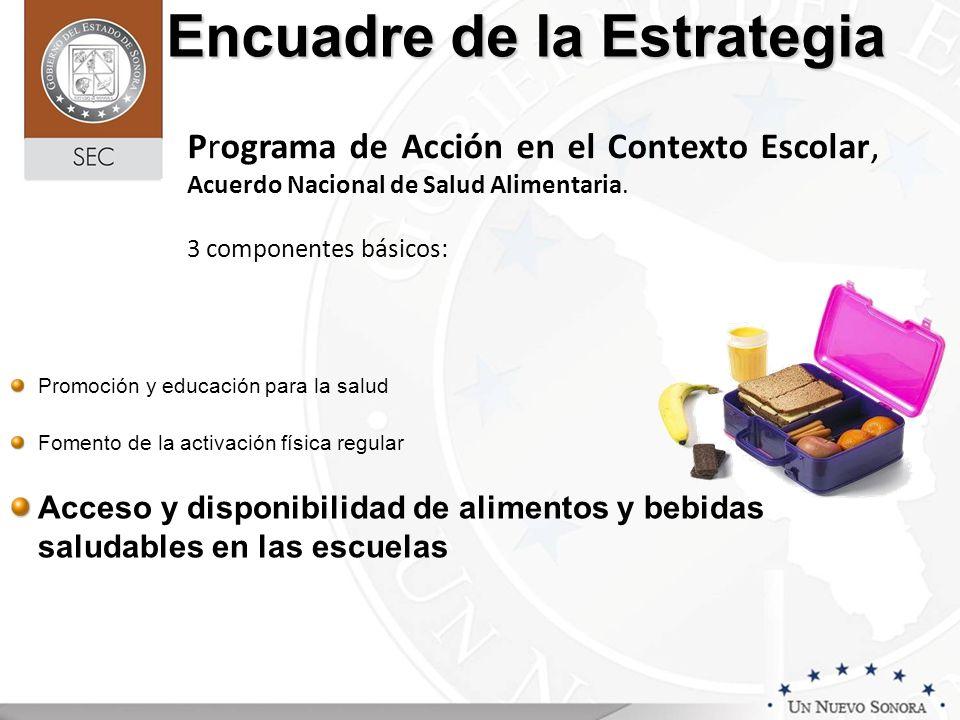 Encuadre de la Estrategia Programa de Acción en el Contexto Escolar, Acuerdo Nacional de Salud Alimentaria. 3 componentes básicos: Promoción y educaci