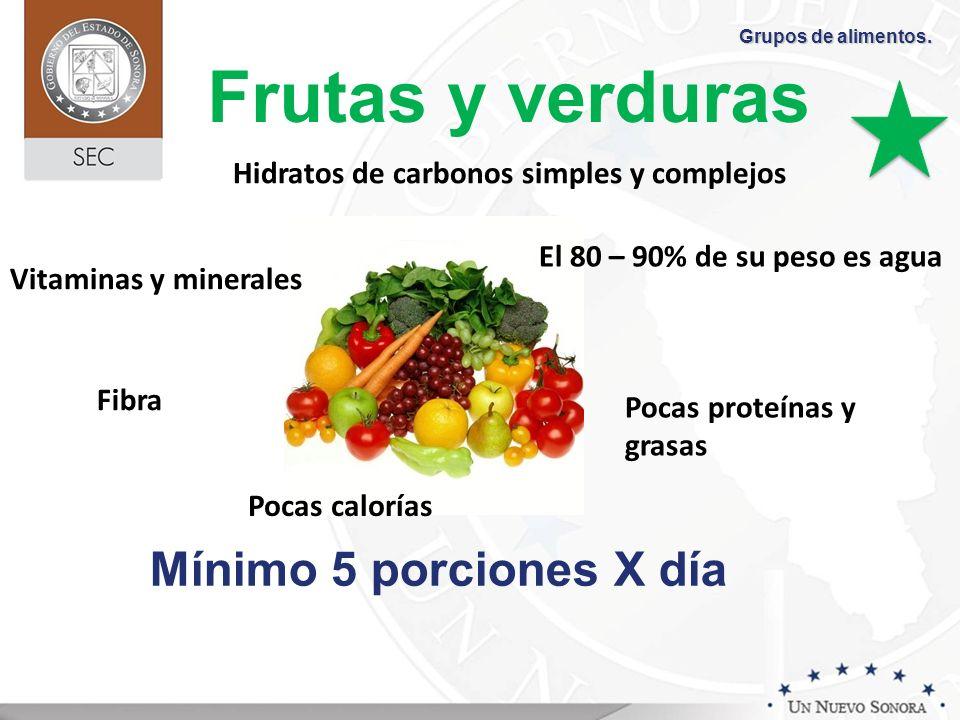 Frutas y verduras Vitaminas y minerales Fibra Pocas calorías Hidratos de carbonos simples y complejos Pocas proteínas y grasas El 80 – 90% de su peso