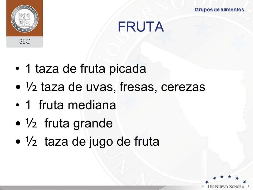FRUTA 1 taza de fruta picada ½ taza de uvas, fresas, cerezas 1 fruta mediana ½ fruta grande ½ taza de jugo de fruta Grupos de alimentos.