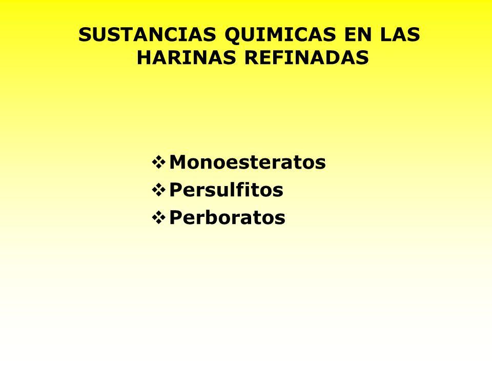 SUSTANCIAS QUIMICAS EN LAS HARINAS REFINADAS Monoesteratos Persulfitos Perboratos