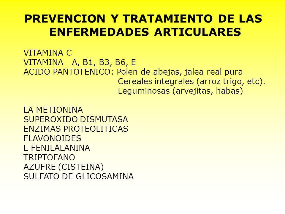 PREVENCION Y TRATAMIENTO DE LAS ENFERMEDADES ARTICULARES VITAMINA C VITAMINA A, B1, B3, B6, E ACIDO PANTOTENICO: Polen de abejas, jalea real pura Cere