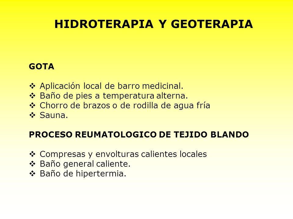 HIDROTERAPIA Y GEOTERAPIA GOTA Aplicación local de barro medicinal. Baño de pies a temperatura alterna. Chorro de brazos o de rodilla de agua fría Sau