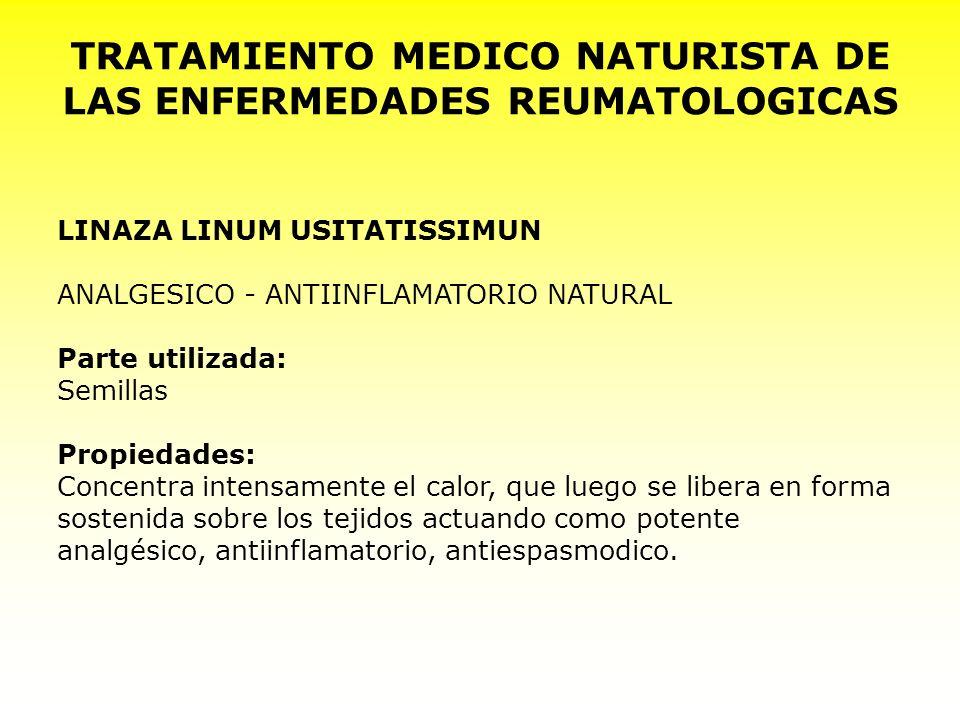 TRATAMIENTO MEDICO NATURISTA DE LAS ENFERMEDADES REUMATOLOGICAS LINAZA LINUM USITATISSIMUN ANALGESICO - ANTIINFLAMATORIO NATURAL Parte utilizada: Semi