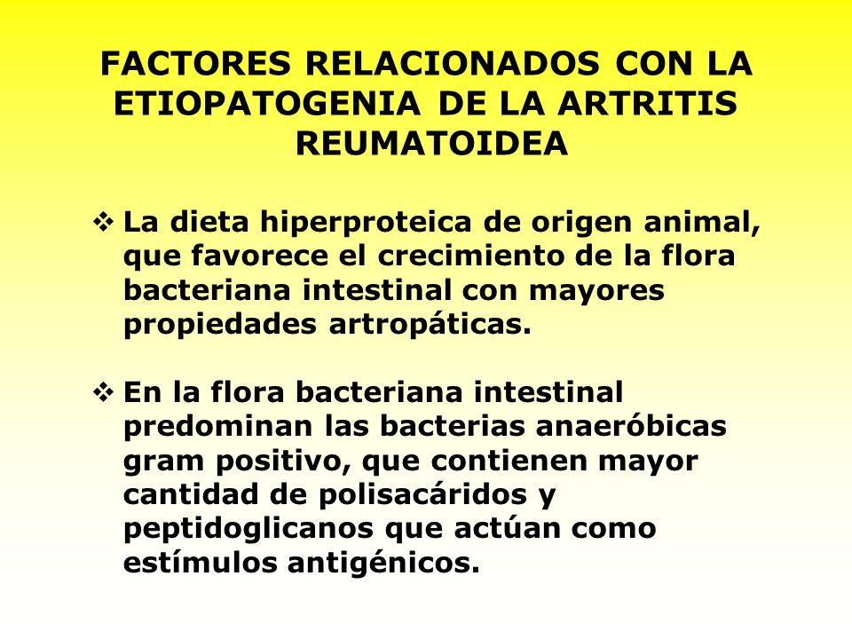 FACTORES RELACIONADOS CON LA ETIOPATOGENIA DE LA ARTRITIS REUMATOIDEA La dieta hiperproteica de origen animal, que favorece el crecimiento de la flora