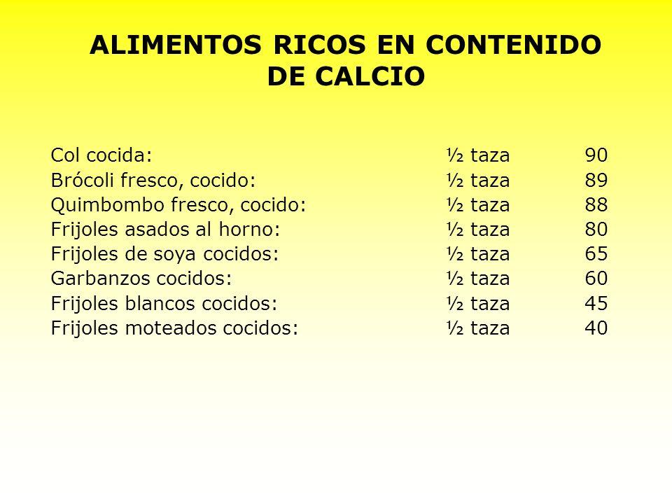 Col cocida:½ taza90 Brócoli fresco, cocido:½ taza89 Quimbombo fresco, cocido:½ taza88 Frijoles asados al horno:½ taza80 Frijoles de soya cocidos:½ taz