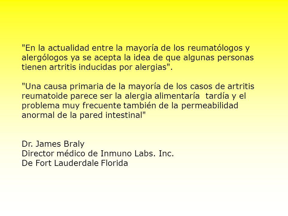 En la actualidad entre la mayoría de los reumatólogos y alergólogos ya se acepta la idea de que algunas personas tienen artritis inducidas por alergias .