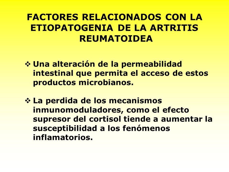 FACTORES INVOLUCRADOS EN LA ETIOPATOGENIA DE LA ARTRITIS REUMATOIDEA La predominancia de bacterias anaerobias gran positivo en la flora intestinal, puesto que contienen mayor cantidad de polisacáridos y peptidoglicanos que actúan como estímulos antigénicos.