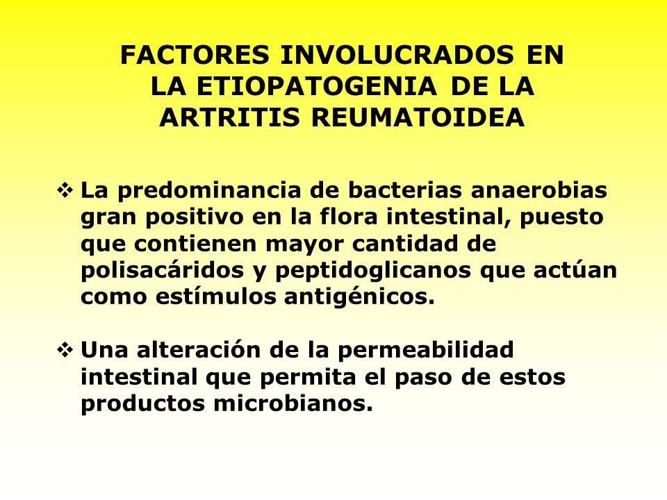 FACTORES INVOLUCRADOS EN LA ETIOPATOGENIA DE LA ARTRITIS REUMATOIDEA La dieta hiperproteica de origen animal, que favorece el crecimiento de la flora bacteriana intestinal con mayores propiedades artrópaticas.