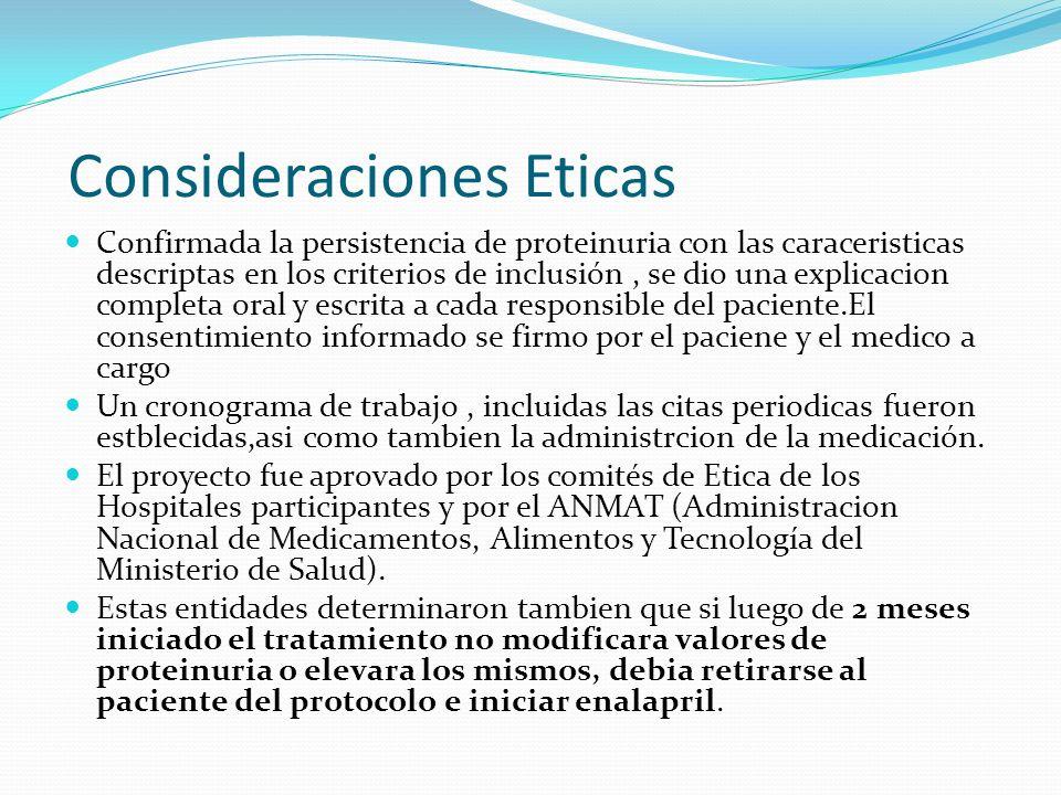 Consideraciones Eticas Confirmada la persistencia de proteinuria con las caraceristicas descriptas en los criterios de inclusión, se dio una explicaci