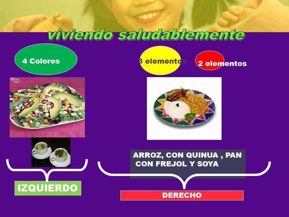 ARROZ, CON QUINUA, PAN CON FREJOL Y SOYA IZQUIERDO DERECHO 3 elementos 2 elementos 4 Colores