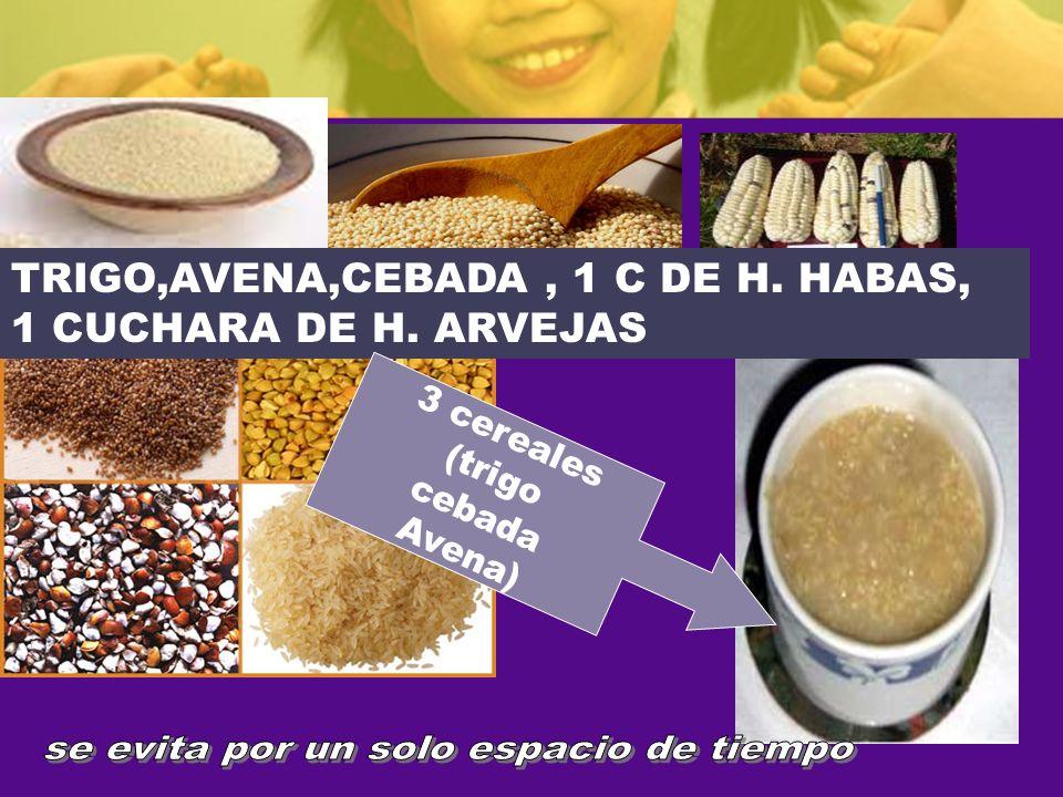 COMPONENENTEES ACIDOS TRIGO,AVENA,CEBADA, 1 C DE H. HABAS, 1 CUCHARA DE H. ARVEJAS 3 cereales (trigo cebada Avena)