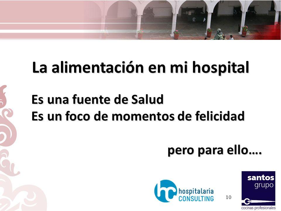 La alimentación en mi hospital Es una fuente de Salud Es una fuente de Salud Es un foco de momentos de felicidad Es un foco de momentos de felicidad p