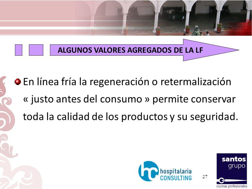 En línea fría la regeneración o retermalización « justo antes del consumo » permite conservar toda la calidad de los productos y su seguridad. ALGUNOS