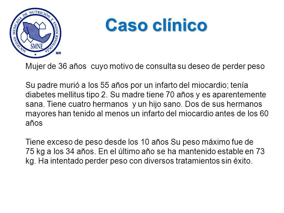 Caso clínico Mujer de 36 años cuyo motivo de consulta su deseo de perder peso Su padre murió a los 55 años por un infarto del miocardio; tenía diabete