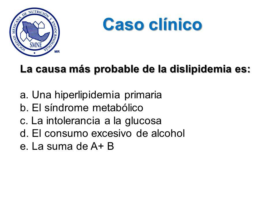 La causa más probable de la dislipidemia es: a. Una hiperlipidemia primaria b. El síndrome metabólico c. La intolerancia a la glucosa d. El consumo ex