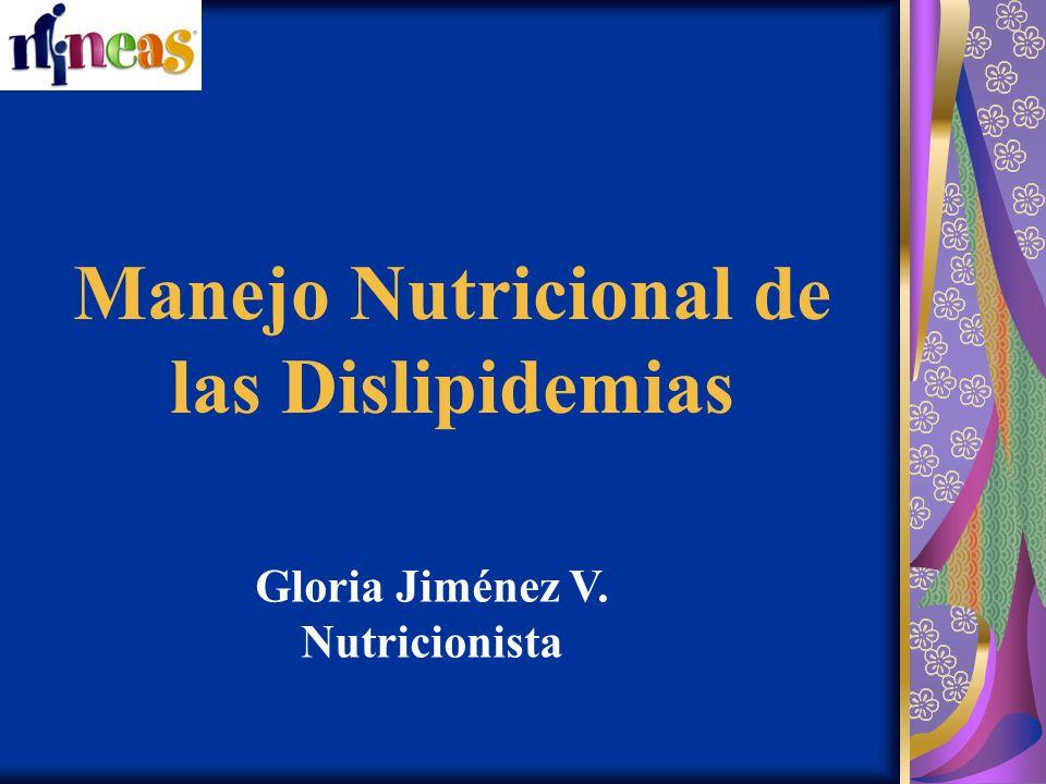 Manejo Nutricional de las Dislipidemias Gloria Jiménez V. Nutricionista