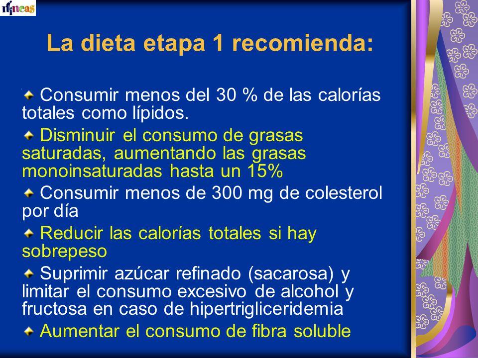 La dieta etapa 1 recomienda: Consumir menos del 30 % de las calorías totales como lípidos. Disminuir el consumo de grasas saturadas, aumentando las gr