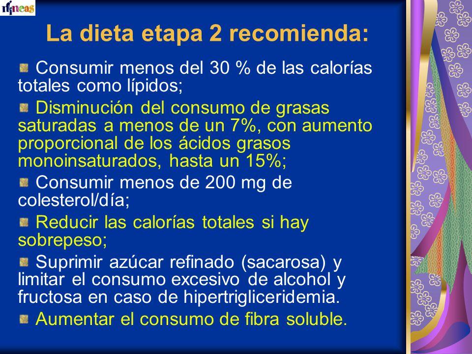 La dieta etapa 2 recomienda: Consumir menos del 30 % de las calorías totales como lípidos; Disminución del consumo de grasas saturadas a menos de un 7