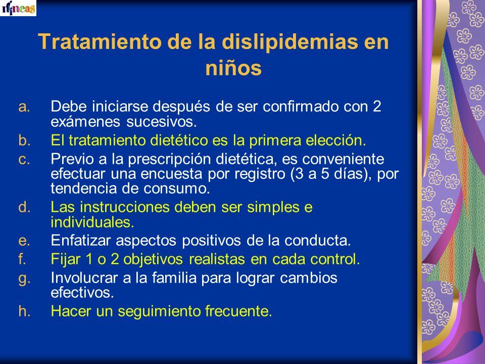 Tratamiento de la dislipidemias en niños a.Debe iniciarse después de ser confirmado con 2 exámenes sucesivos. b.El tratamiento dietético es la primera
