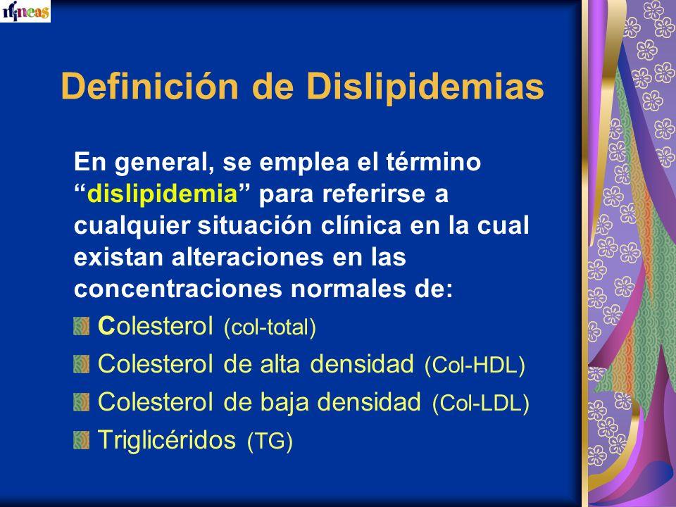 Definición de Dislipidemias En general, se emplea el término dislipidemia para referirse a cualquier situación clínica en la cual existan alteraciones