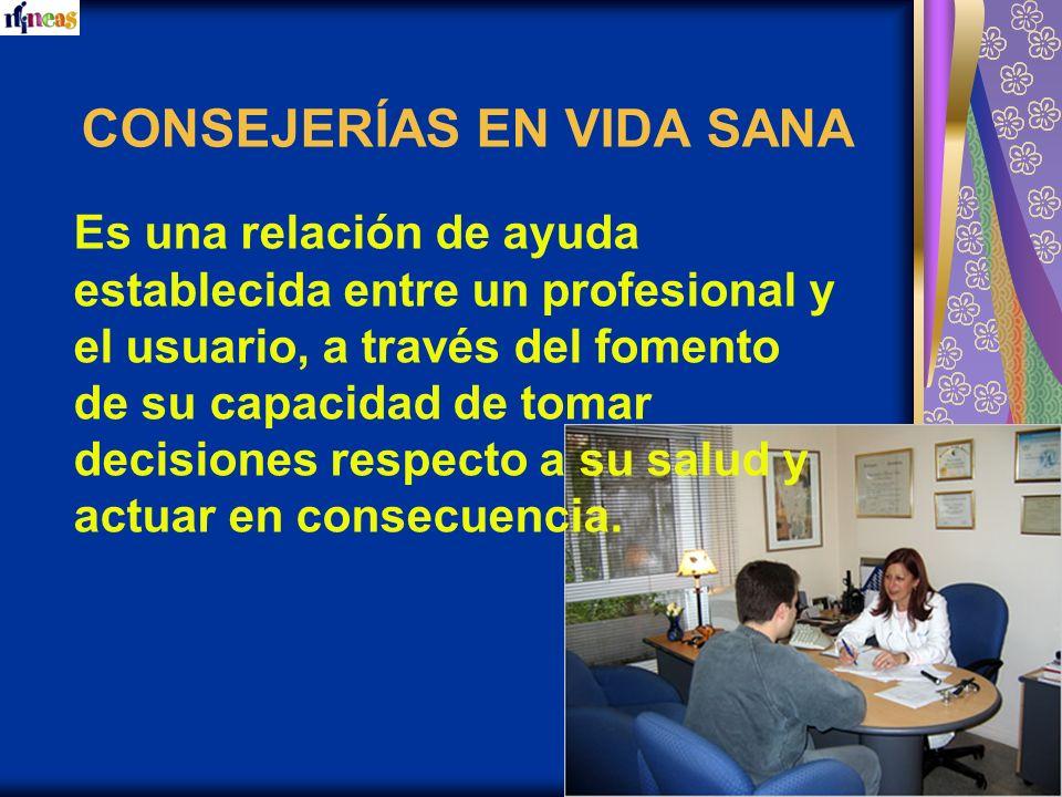 CONSEJERÍAS EN VIDA SANA Es una relación de ayuda establecida entre un profesional y el usuario, a través del fomento de su capacidad de tomar decisio