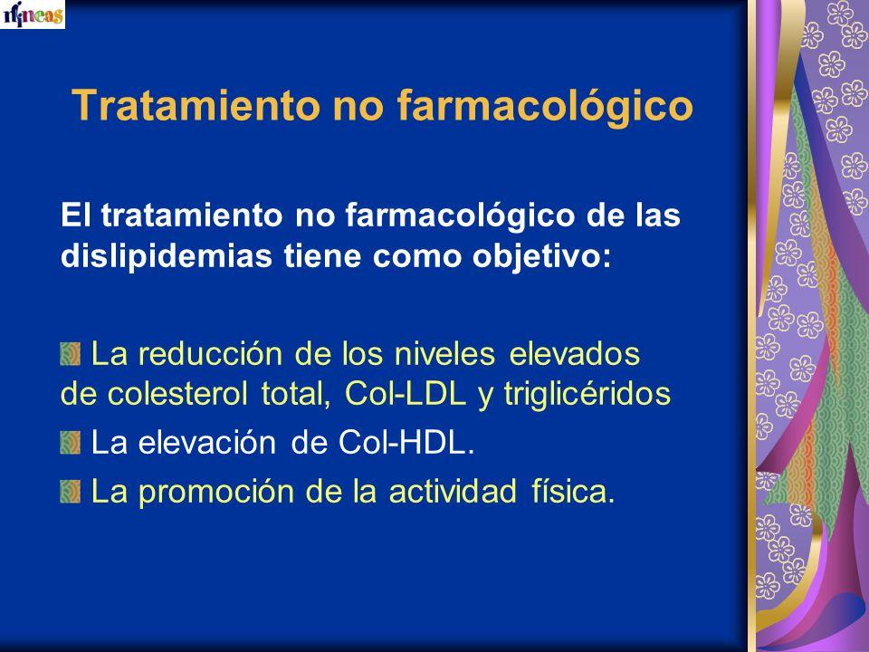 Tratamiento no farmacológico El tratamiento no farmacológico de las dislipidemias tiene como objetivo: La reducción de los niveles elevados de coleste