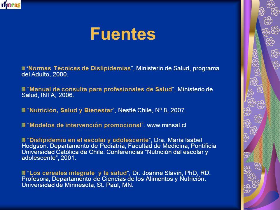 Fuentes Normas Técnicas de Dislipidemias, Ministerio de Salud, programa del Adulto, 2000. Manual de consulta para profesionales de Salud, Ministerio d