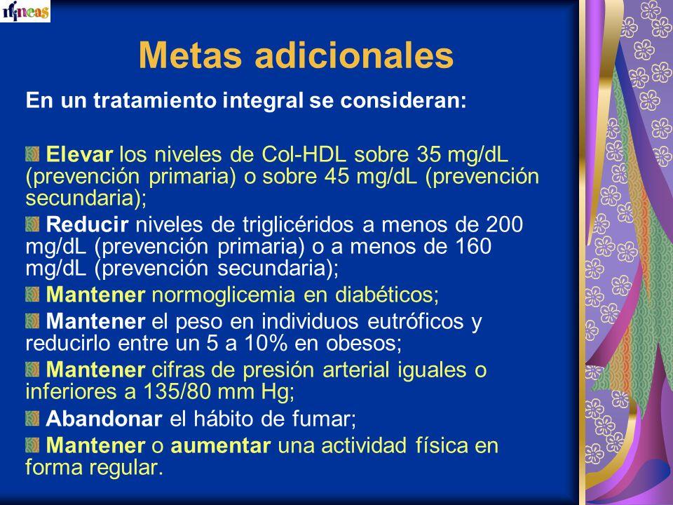 Metas adicionales En un tratamiento integral se consideran: Elevar los niveles de Col-HDL sobre 35 mg/dL (prevención primaria) o sobre 45 mg/dL (preve