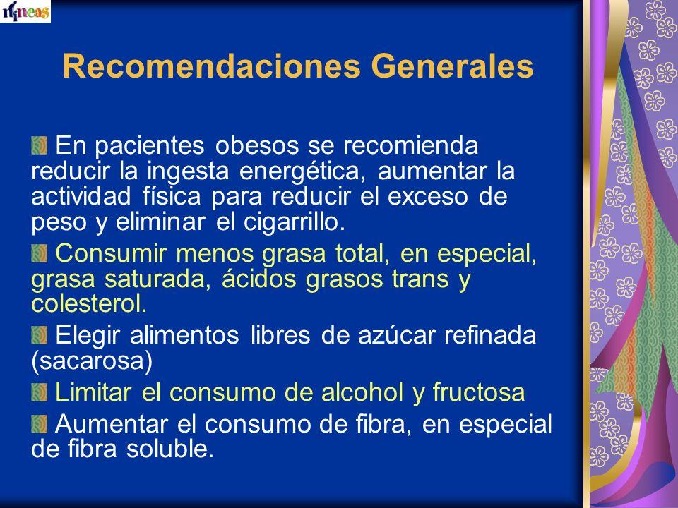Recomendaciones Generales En pacientes obesos se recomienda reducir la ingesta energética, aumentar la actividad física para reducir el exceso de peso