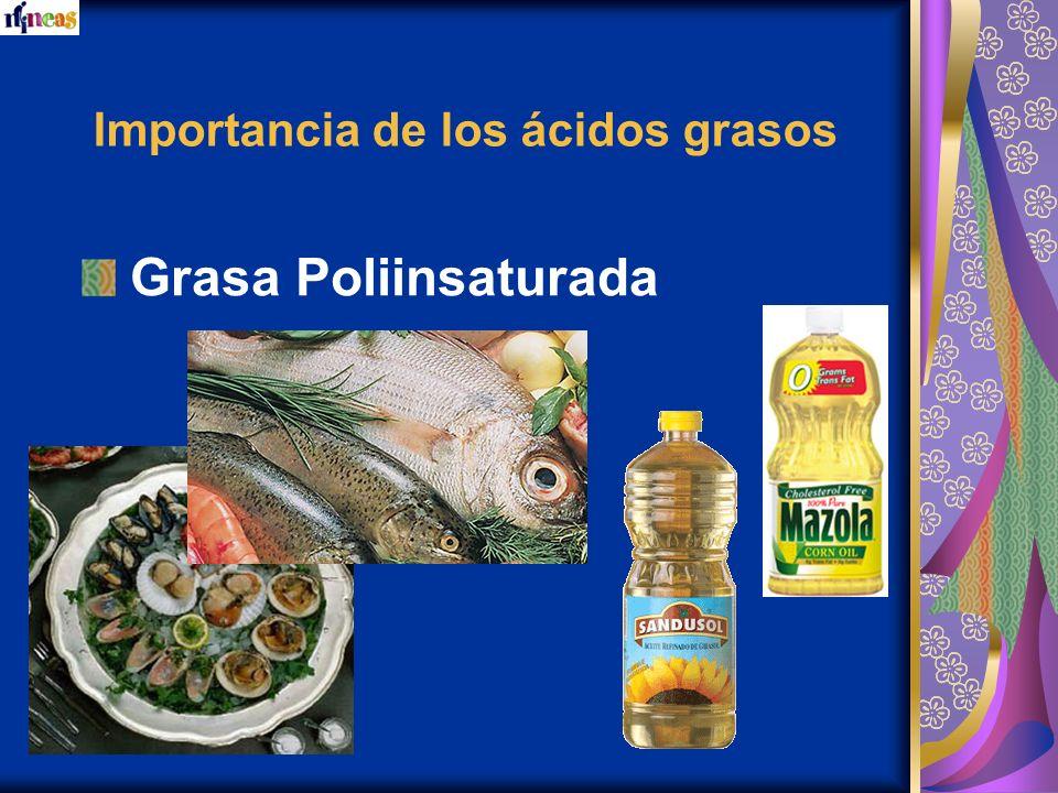Importancia de los ácidos grasos Grasa Poliinsaturada