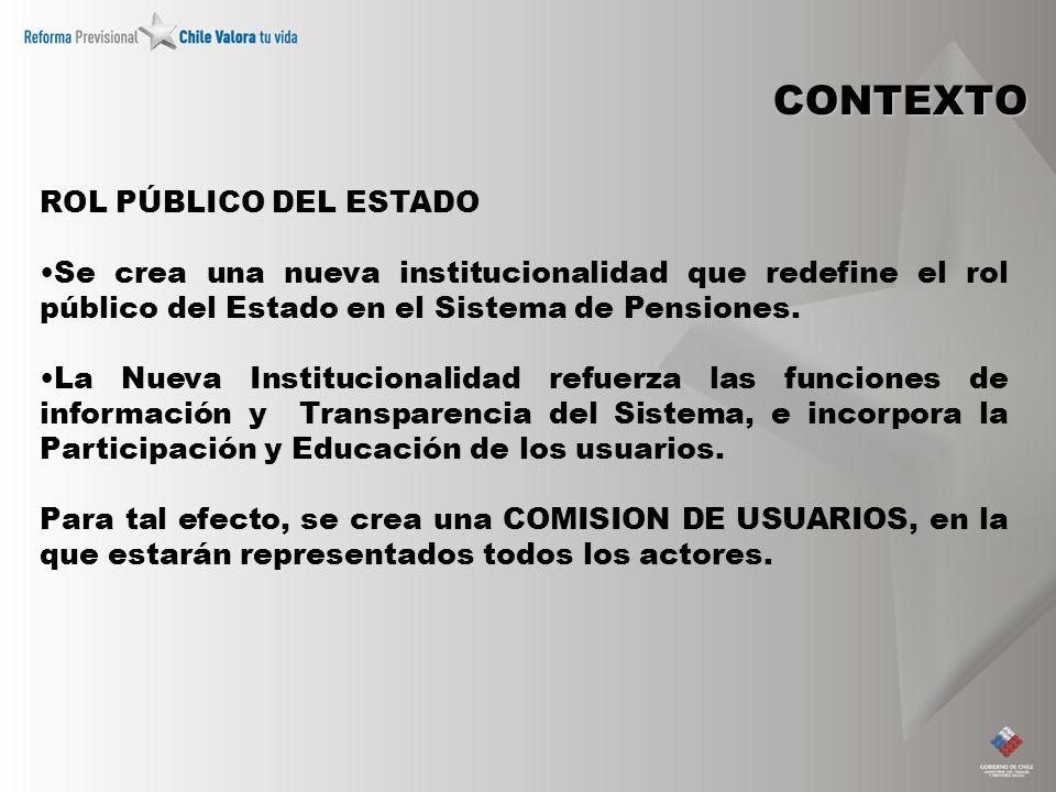 CONTEXTO ROL PÚBLICO DEL ESTADO Se crea una nueva institucionalidad que redefine el rol público del Estado en el Sistema de Pensiones. La Nueva Instit