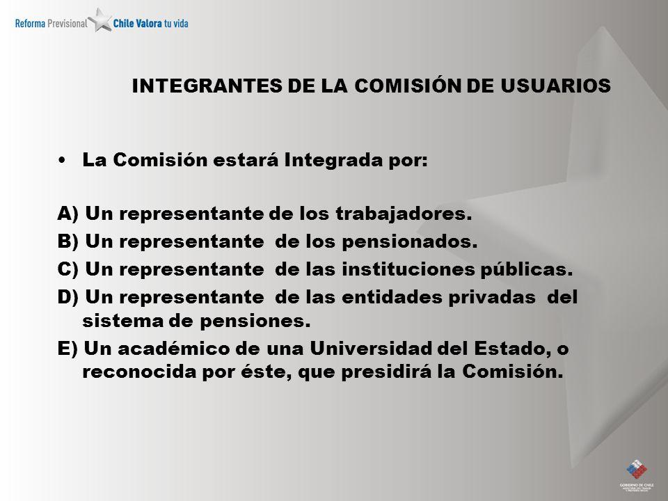 INTEGRANTES DE LA COMISIÓN DE USUARIOS La Comisión estará Integrada por: A) Un representante de los trabajadores. B) Un representante de los pensionad