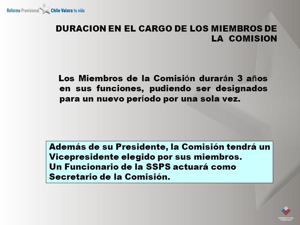 DURACION EN EL CARGO DE LOS MIEMBROS DE LA COMISION Los Miembros de la Comisi ó n durar á n 3 a ñ os en sus funciones, pudiendo ser designados para un