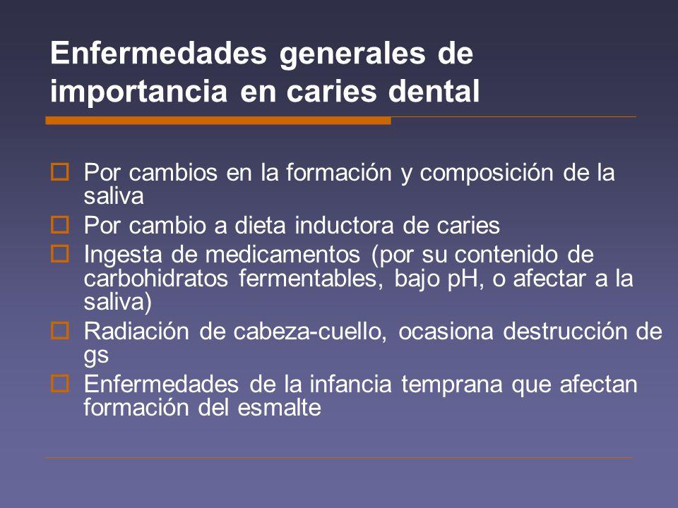 Enfermedades generales de importancia en caries dental Por cambios en la formación y composición de la saliva Por cambio a dieta inductora de caries I