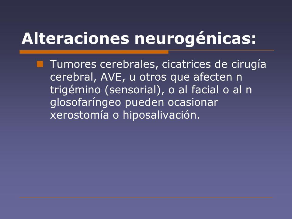 Alteraciones neurogénicas: Tumores cerebrales, cicatrices de cirugía cerebral, AVE, u otros que afecten n trigémino (sensorial), o al facial o al n gl